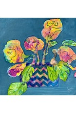 "Fiori Ferraris BLUE-Gray Abstract Flowers, acrylic on canvas, 12x12"", FIORI"