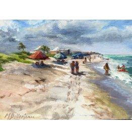 "Michaelann Bellerjeau ""Morning Walk"" original oil on panel, framed, 7.5 x6, MICB"