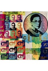 "Pam Maschal RBG ""CHEERS"", collage on canvas, 6"" sq, PAMM"