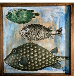 "Pam Maschal FISH COLLAGE 1, framed, 12"" sq. PAMM"