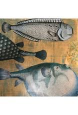 "Pam Maschal FISH COLLAGE 2, panel, 14"" sq. PAMM"