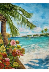 "Susan Marinaccio Whispering Palm,  original oil and mixed media on canvas, 36x48"", SUSM"