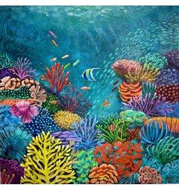 """Susan Marinaccio Coral Briliance,  original on canvas, 24"""" sq, SUSM"""