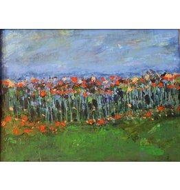 Teresa Kay Poppy High, acrylic on canvas, framed, 18x15, TERK