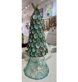"Susan Marinaccio Limpet Tree on glass pedestal, 12"" high"