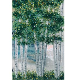 """Forever Fused Aspens, fused glass, lrg, 13x21.5"""", w/stand, FORF"""