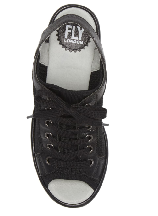 Lace-Up Leather/Farbic Wedge YEDU