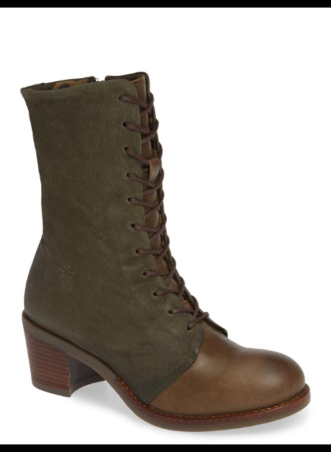 Leather Wedge Combat Boot ZEKO