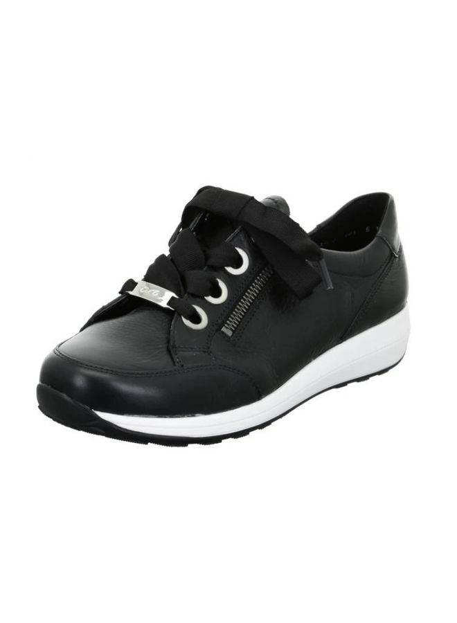 Leather sneaker with laces and zip OLLIE 34587