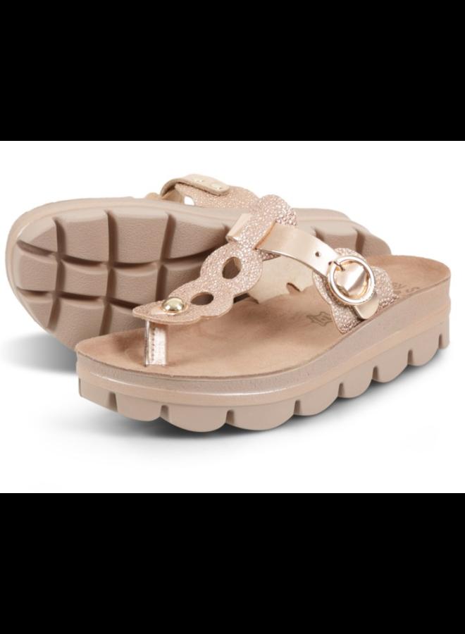 T-Strap Two-Tone Platform Sandal EMMA