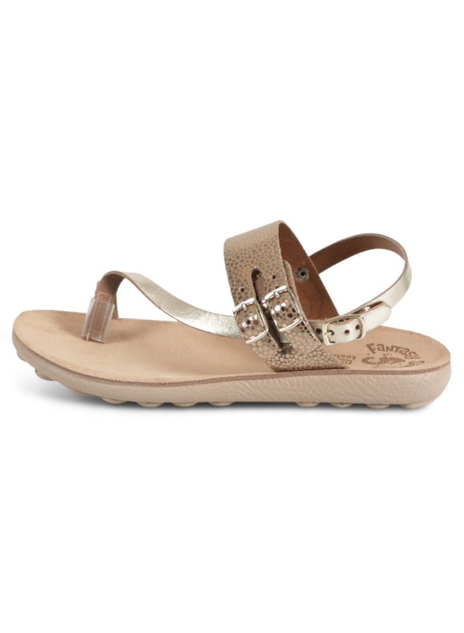 Triple Buckle Leather Strap Sandal NAOMI