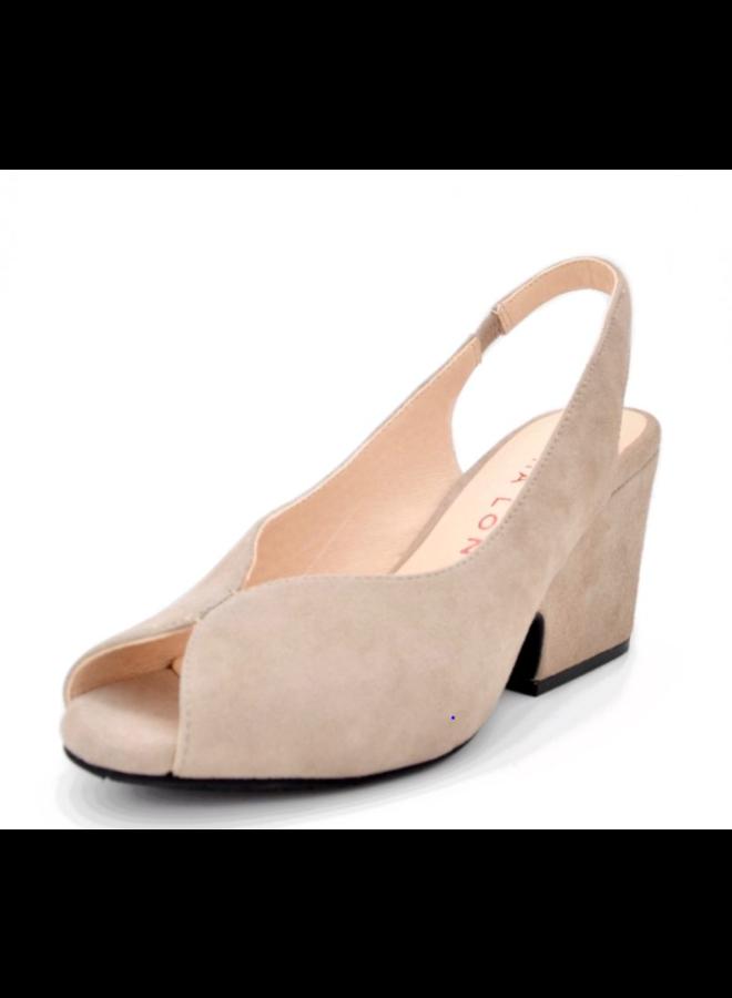 "Mid Height  open-toe pump with 2"" wedge heel SALMA"