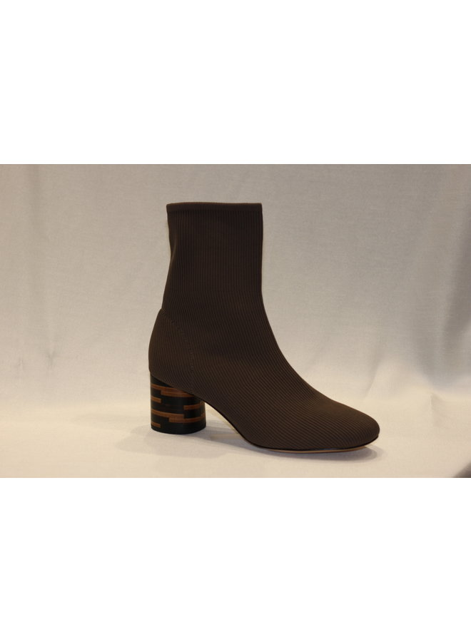 "Stretch bootie with 1.5"" rounded stacked heel MARISA"