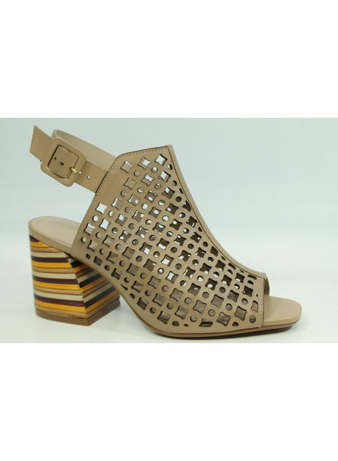 "Perforated peep toe 2"" Stack heel HILDA-30"