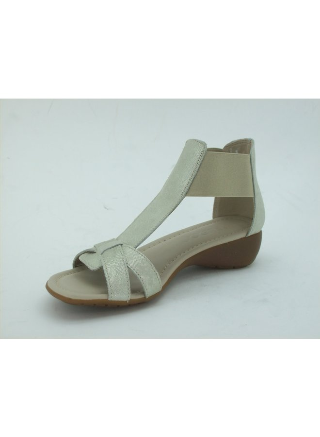 T-Strap elastic sandal with small wedge BAND TOGETHER