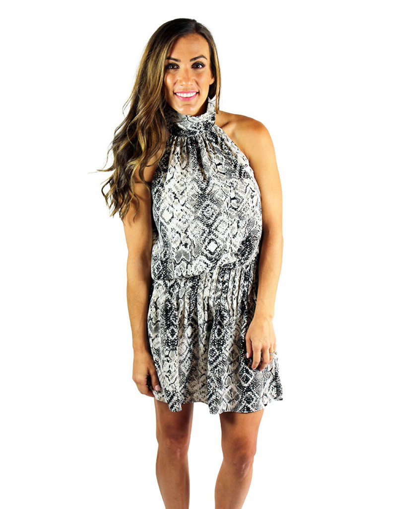 SHENA SMOCKWAIST SNAKE DRESS