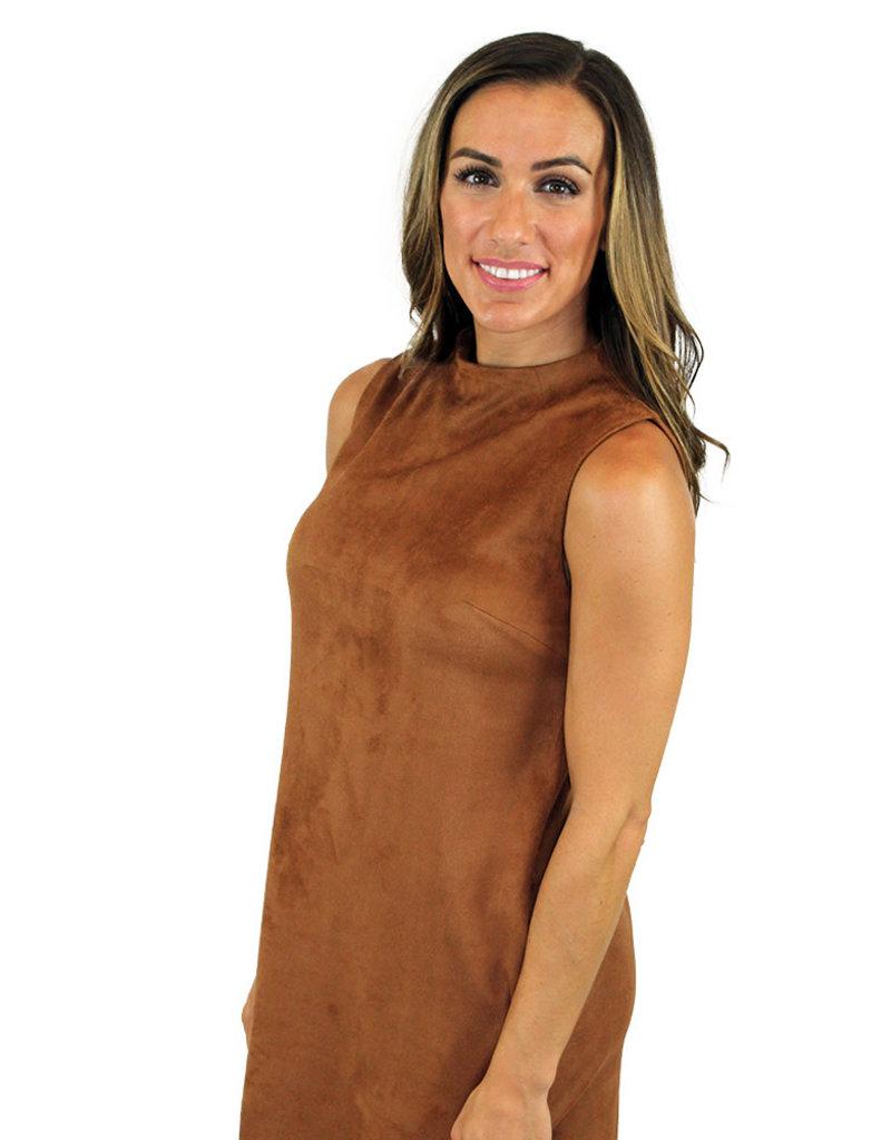 LYLA SUEDETTE MOCK NECK DRESS
