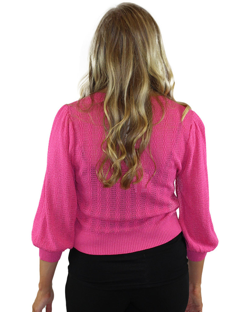 KNIT 3/4 SLV SWEATER-Pink & Blue Available!