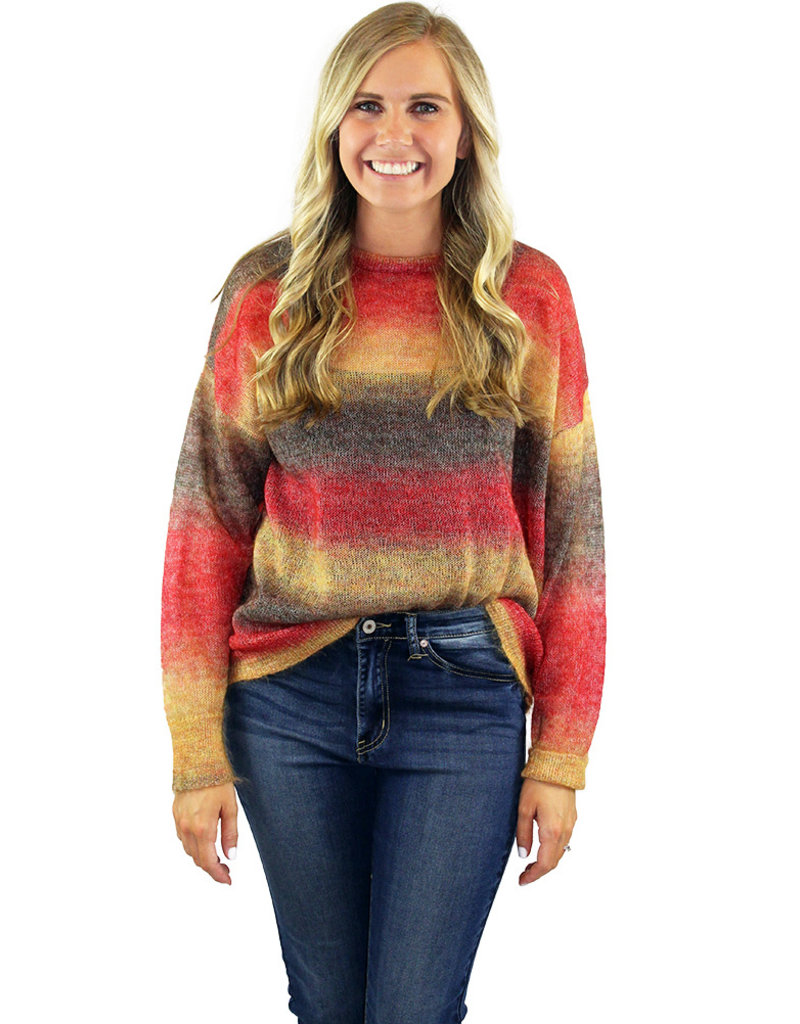 OMBRE SWEATER-Red & Orange!