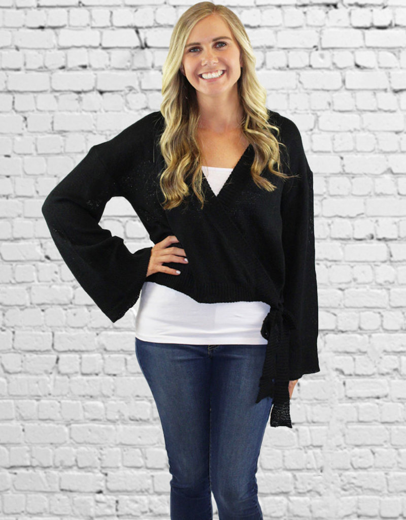 SUZETTE WRAP SWEATER- Black or Taupe