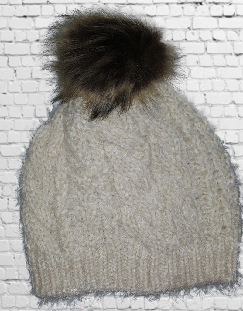 FUR POM HAT-Black, Gray, Ivory and Pink