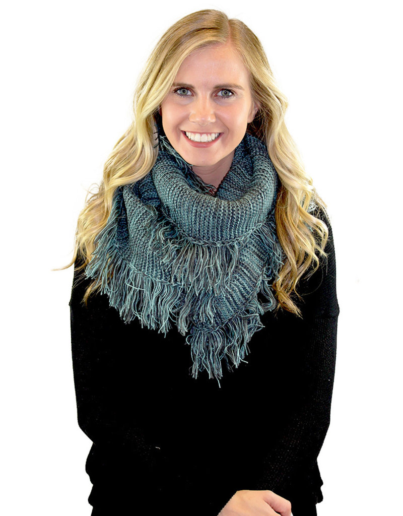 FRAY TRIM INFINITY SCARF-Rainbow and Teal
