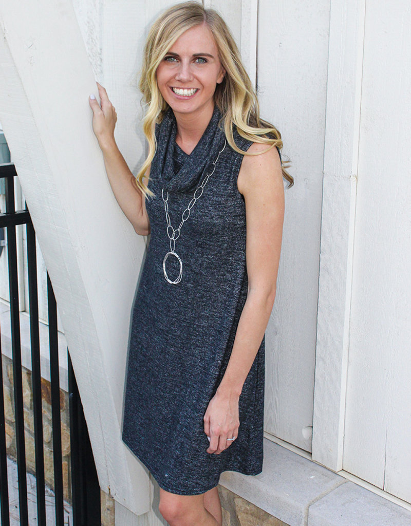 COWL DRESS - Gray and Black