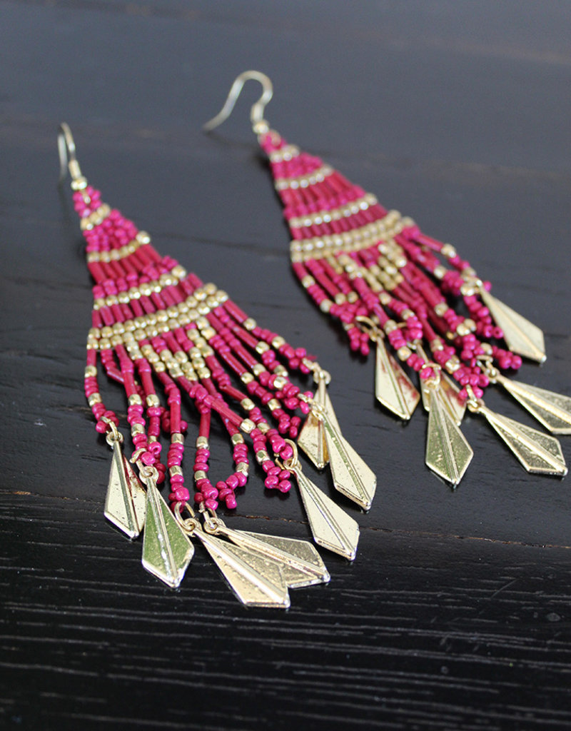 BEADED FRINGE EARRINGS-4 Color Choices
