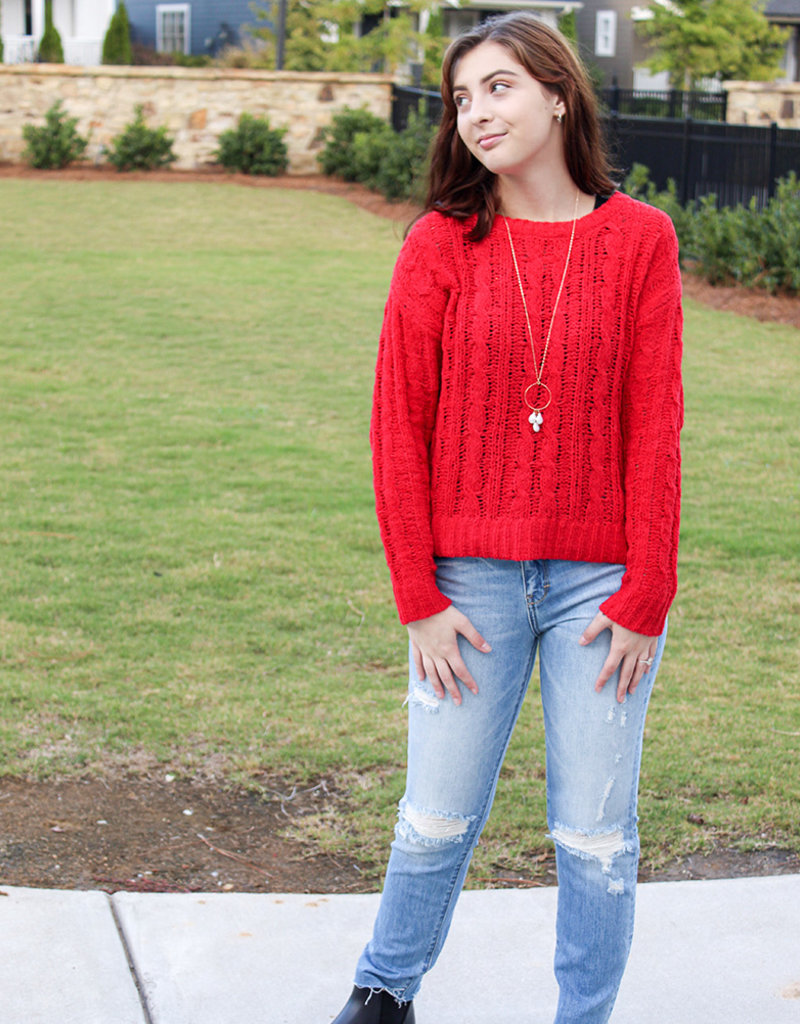 CATRINA CABLE CREW- Red, Ivory, Green, Mustard