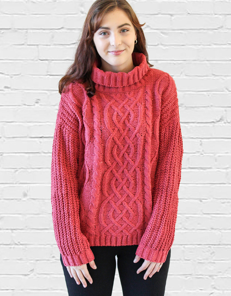 CHUNKY SWEATER- Rust and Blue