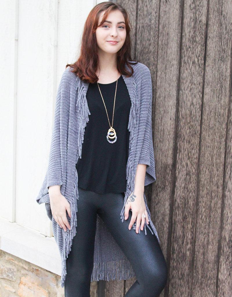 CHENILLE WRAP- Grey, Black and Blush