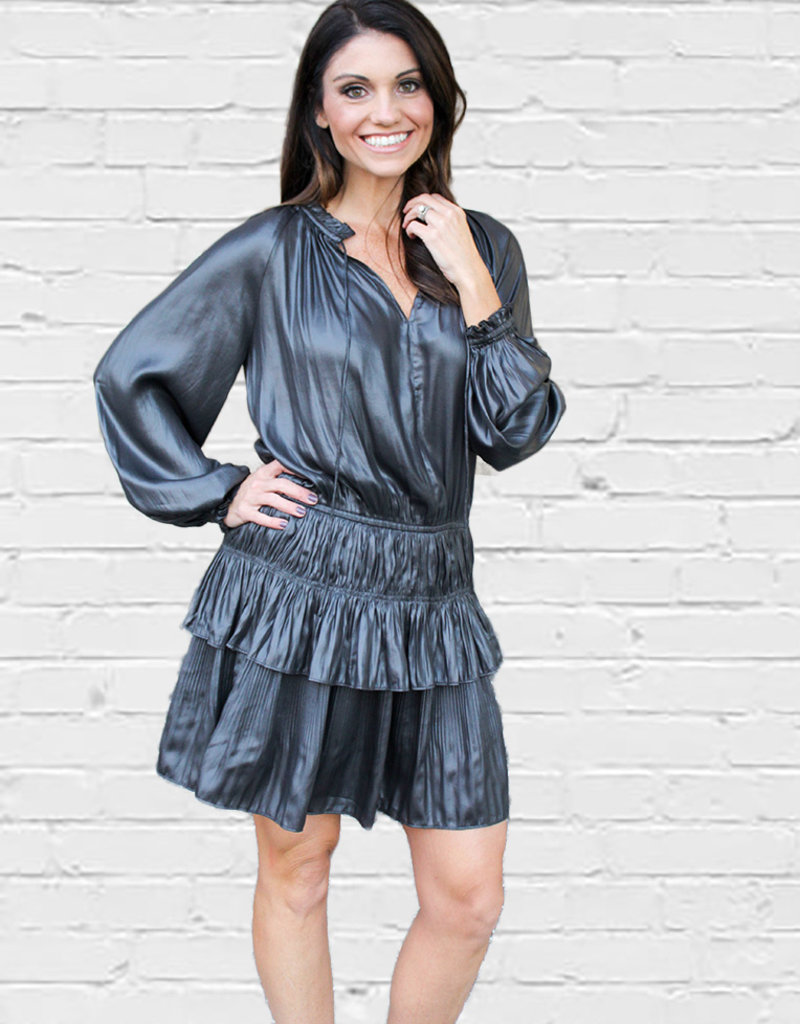 RAMONE LEATHER LOOK SMOCK DRESS
