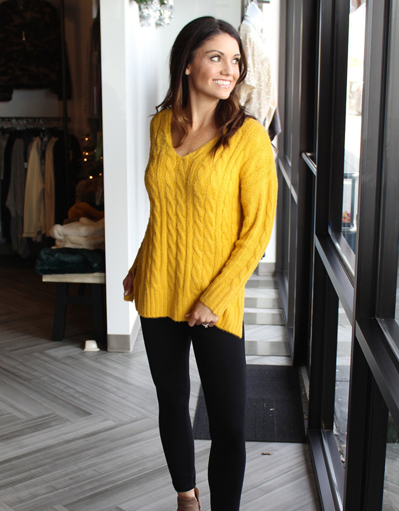 VNECK CABLE SWEATER-Mustard and Rust