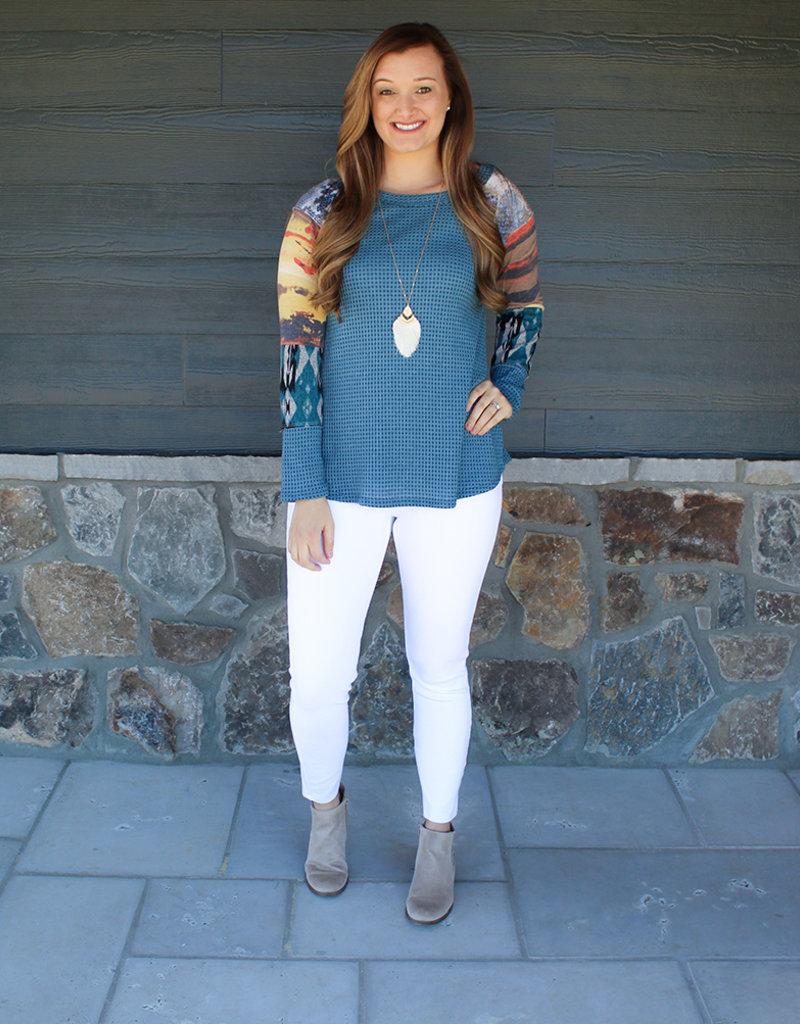Marley Sleeve Top-Green or Blue