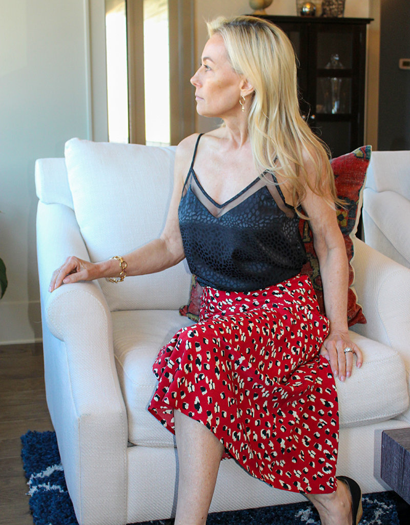 Leopard Silk Skirt- Red