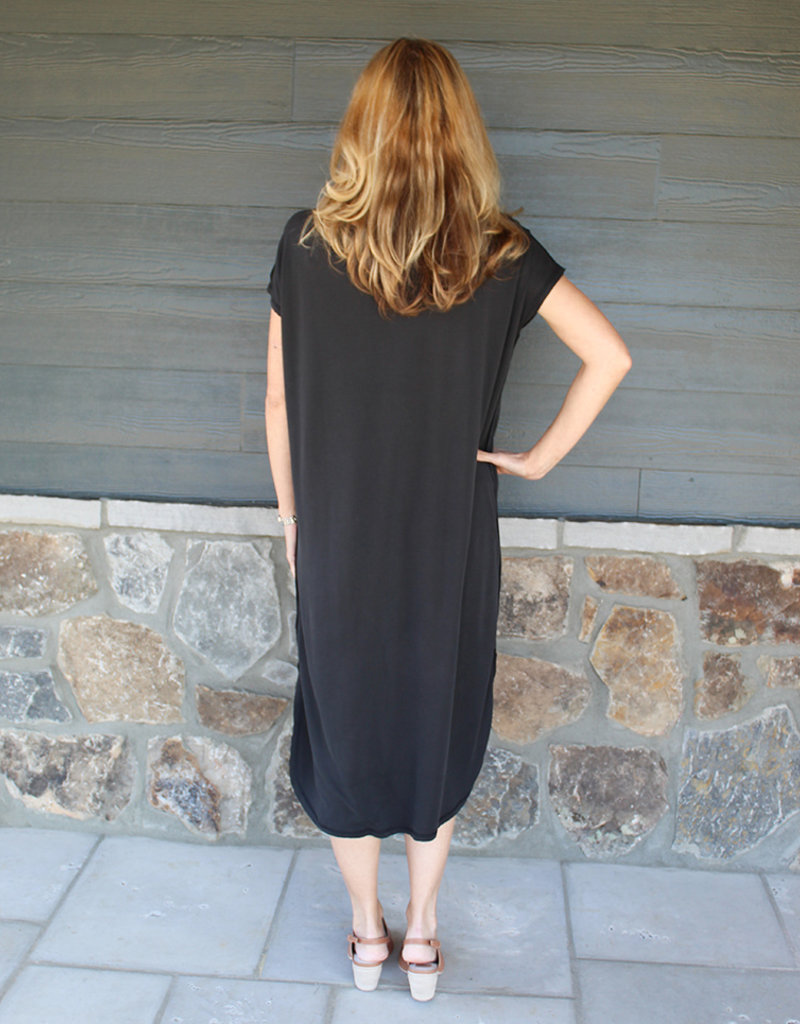 Simple Short Sleeve Dress- Black and Blue Gray