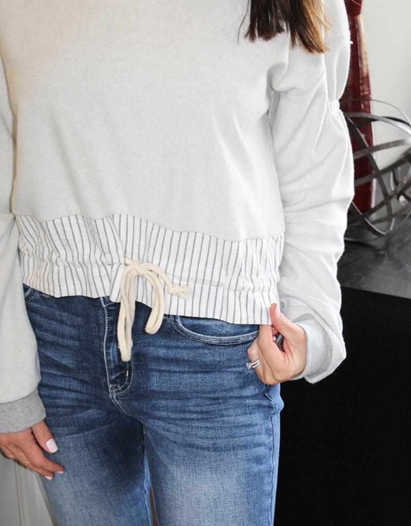 Stripe Tie Sweatshirt