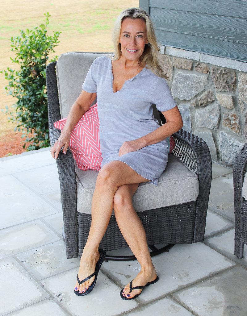 CAMO SPLIT NECK DRESS- Three Colors Available