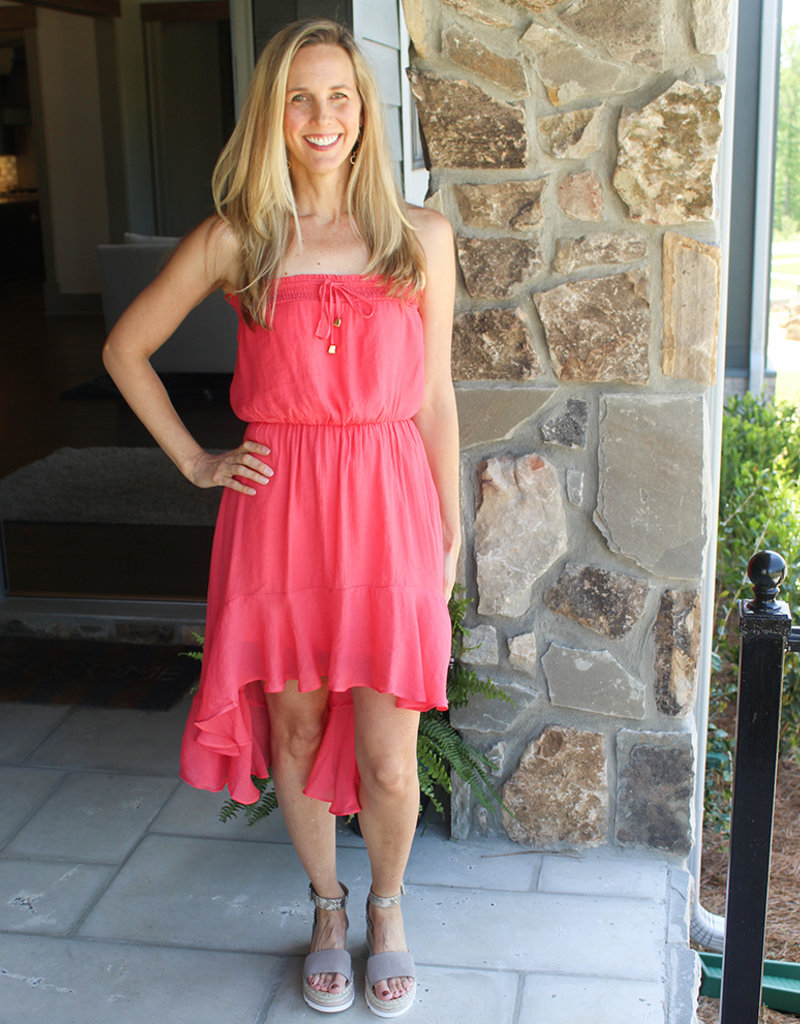 DORIE STRAPLESS DRESS- Coral and Kelly Green
