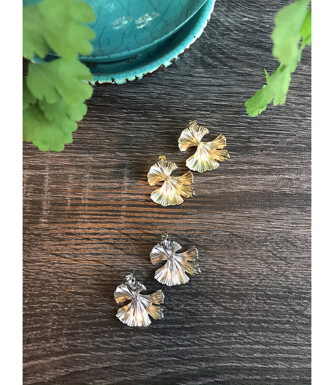 GINKO LEAF EARRING- GOLD or SILVER