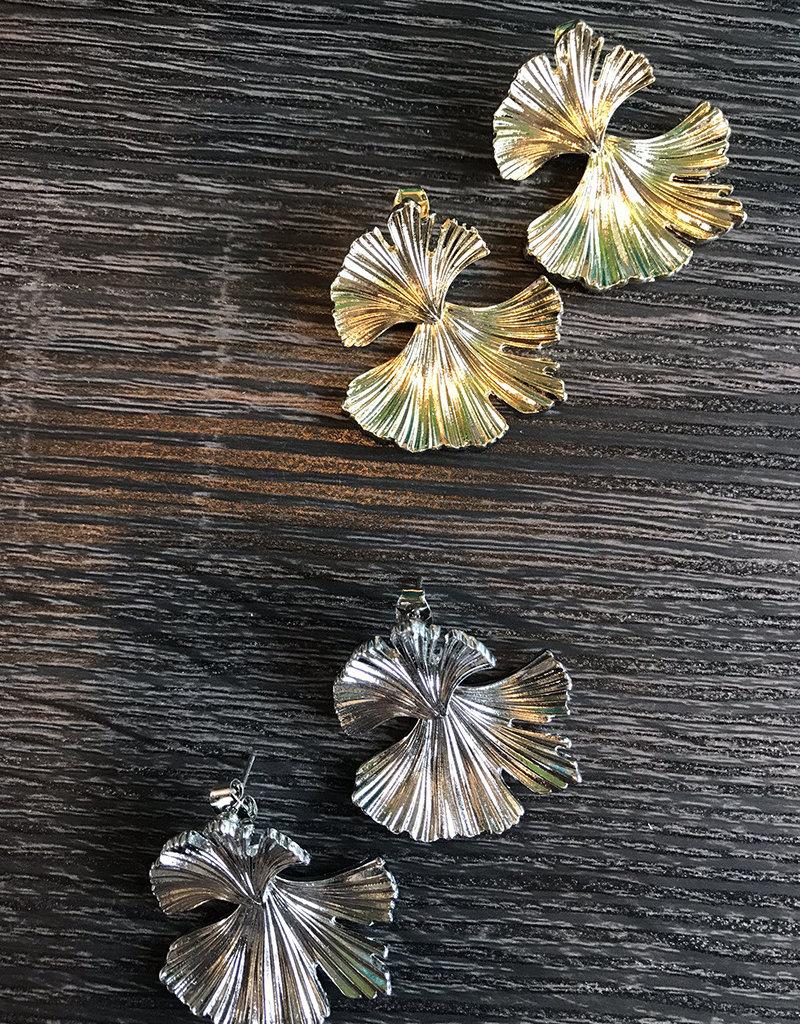 GINKO LEAF EARRING- GOLD or SILVER
