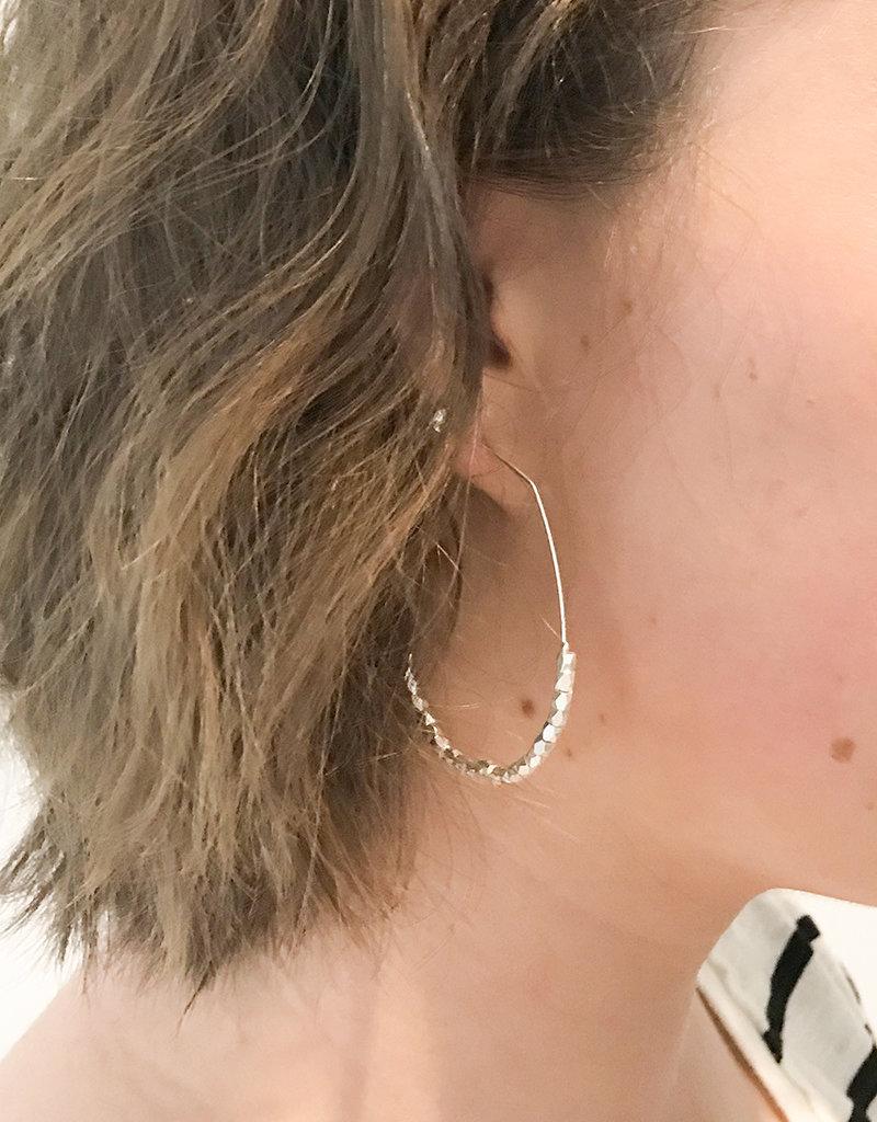 BEAD HOOP EARRING- Gold or Silver