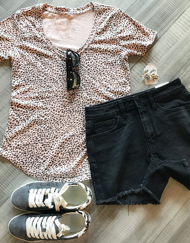 MINI LEOPARD V NECK TOP-Blush