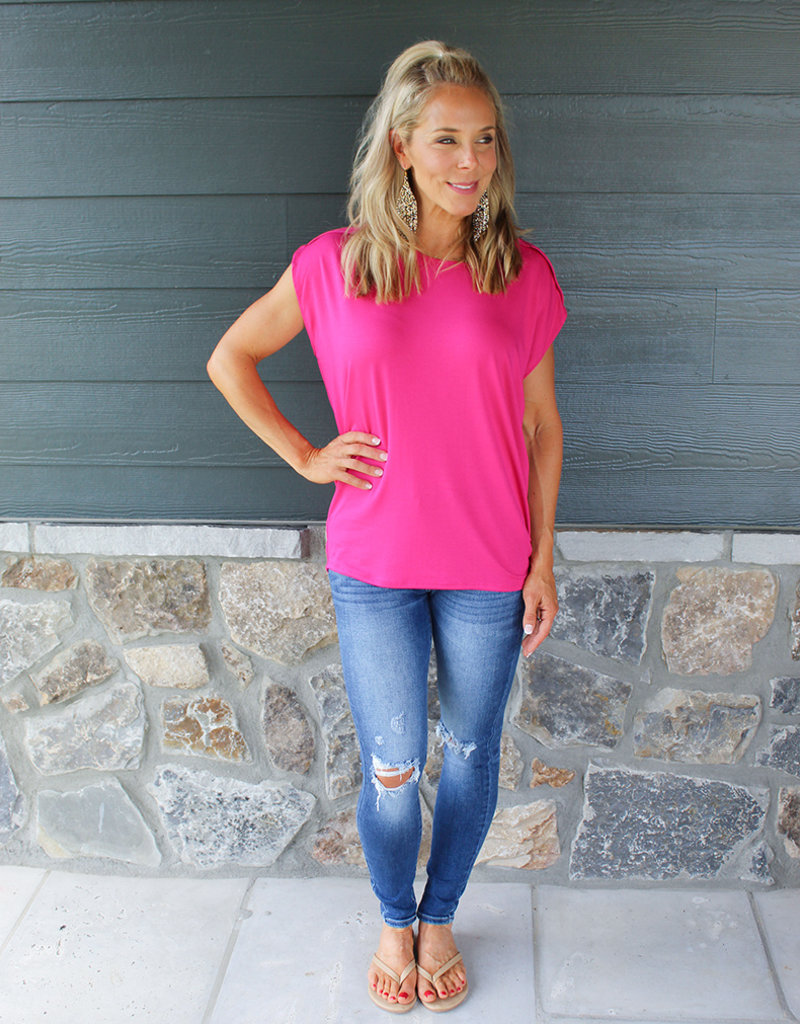 SLIT SLEEVE TOP- Red, Yellow, Pink