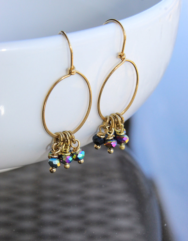 BRASS BEAD EARRINGS- 3 Colors