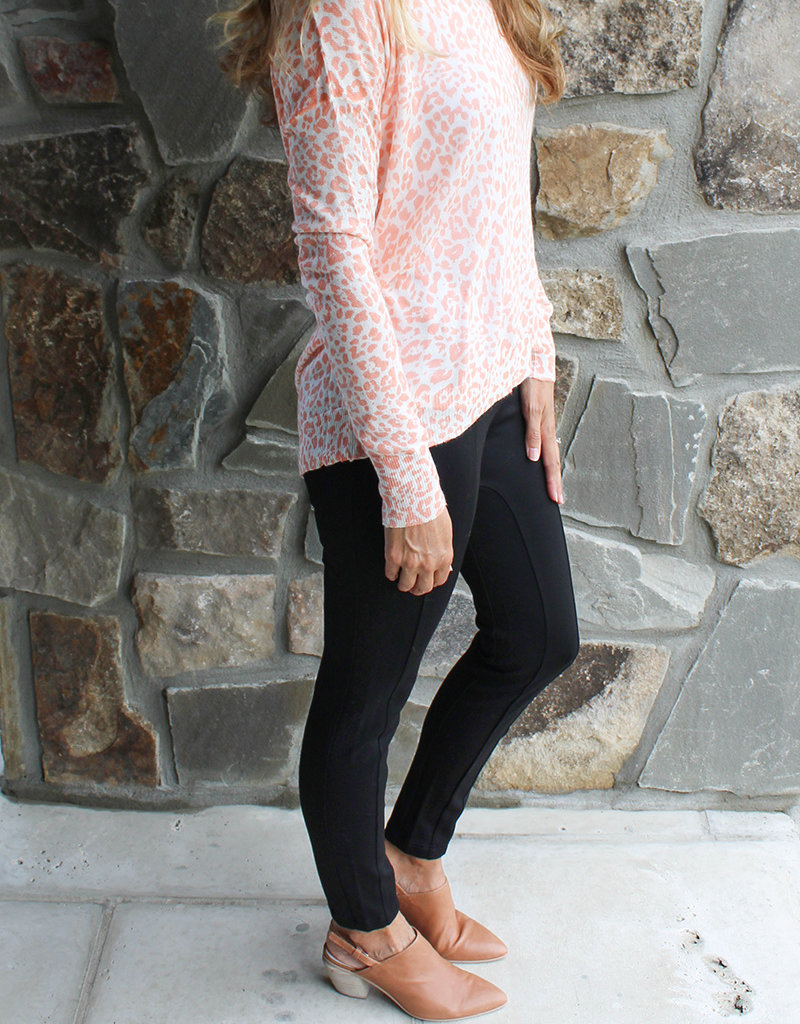 BACK ZIP SWEATER- Charcoal & Coral
