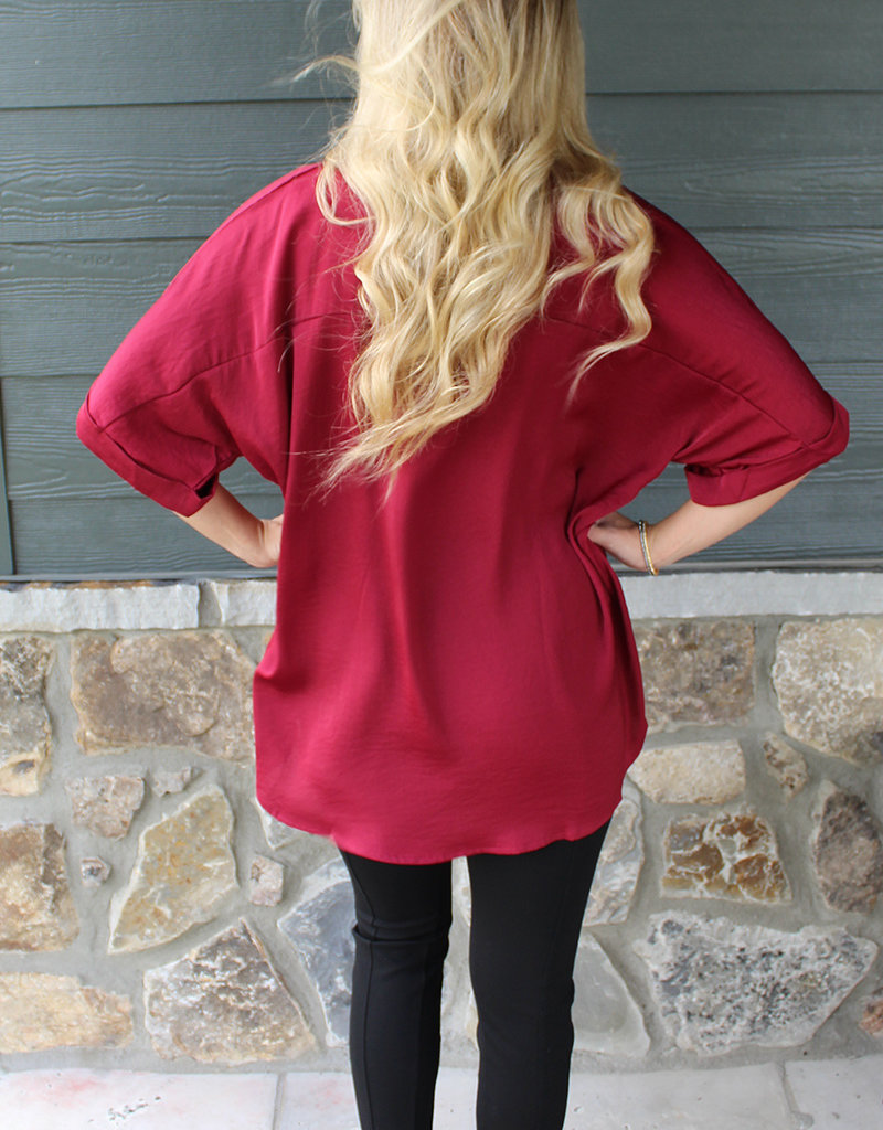 EASY FLOW TOP-Burgundy and Navy