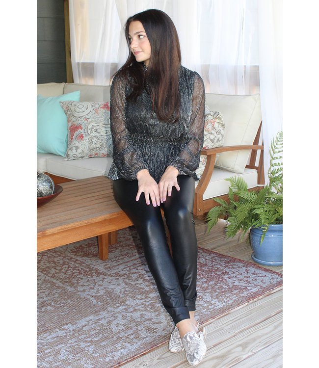 TEXTURE LEATHER LEGGING