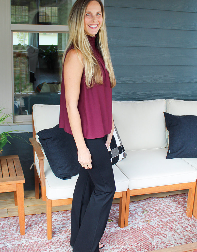 MAPLE SMOCK TOP-Wine and Black