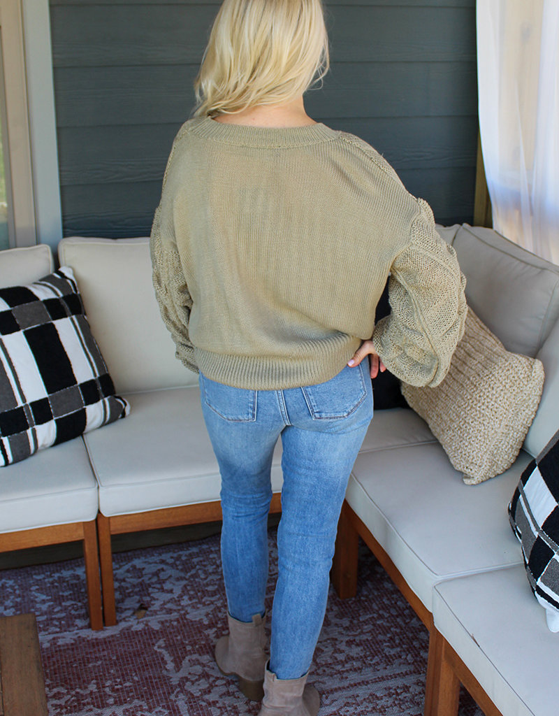SHIRRED SWEATER- Olive or Rust